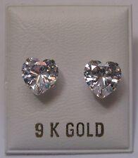 8mm Heart Shaped Cubic Zirconia 9Ct Gold Stud Earrings