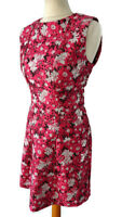 NEW £55 Warehouse 12 Pink Black White Floral Fit and Flare Sleeveless Dress BNWT