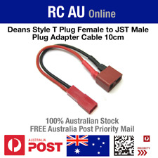 Deans Style T Female Plug to JST Male Plug Adapter Cable 10cm - Free Aust Post