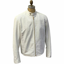 SPRING WHITE MEN'S PERFORATED GENUINE LEATHER JACKET COLLAR STAND UP, SIZE 2XL