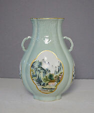 Chinese  Monochrome  Green  Glaze  Base  With  Famille  Rose  Vase    M2005