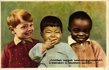 Children, Black, White and Asian Boys, Cute Old Postcard