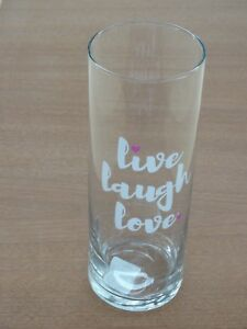 "New Libbey Glass  Live ~ Laugh ~  Love With Pink Hearts 9 1/2"" Clear Glass Vase"