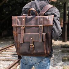 """Men's Genuine Leather Backpack Handbag Clutch Zipper Pocket 17"""" laptop Tote Bag"""