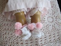 """DARLING POM POM BOOTIES MADE FOR 18"""" TINY TEARS BETSY WETSY EFFANBEE OR SIMILIAR"""