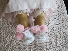 "Darling Pom Pom Booties Made For 18"" Tiny Tears Betsy Wetsy Effanbee Or Similiar"