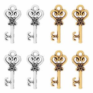 50 x Silver/Gold Tone Santa Key Skeleton Charms Pendants for Jewellery Making