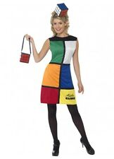 Rubik's Cube Dress Bag Headband 80's Costume Adult Large Fancy Dress Party