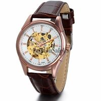 Men's Luxury Business Automatic Mechanical Skeleton Wrist Watch Leather Band New