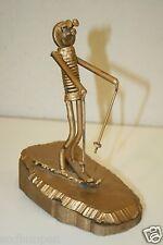 Nut & Bolts Skier Skiing Vintage Funny Gold Metal & Wood Sculpture Folk Art RARE