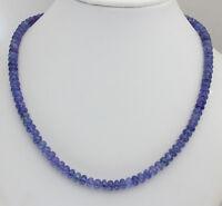 Edle Tansanit kette Edelsteinekette Damen Collier Halskette Blau 925Silber Natur