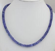 Edle Tansanit Kette Natur Edelsteinekette Blau Collier Glatt geschliffen  155 kt