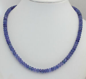 Natural Tanzanite Necklace Gemstone Blue Rondelle Collier 18 1/8in/135 CT