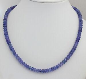 Natural Tanzanite Necklace Gemstone Blue Rondelle Collier 18 1/8in/135 CT