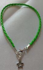 braided leather ankle bracelet funky green hippy beach festival summer star