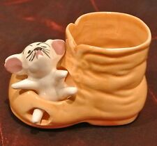 Vintage Ceramic Mouse in a Boot  Figurine Toothpick Holder