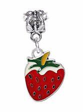 Strawberry Red Green Enamel Fruit Food Dangle Charm for European Bead Bracelets