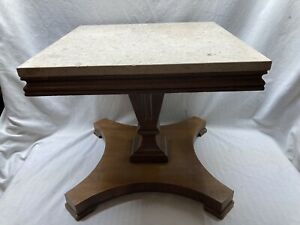 Mid Century Mahogany Marble Top Pier Table/ End Table by Lane
