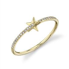 Natural Round Cut Statement Right Hand Shining Star Diamond Ring 14K Yellow Gold
