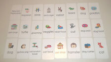 23 Miniature Pet Shop themed Literacy Flashcards. Vertical 2 x 3.5 inches. Presc