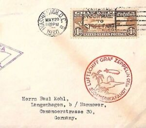 MS78 1930 USA $1.30 ZEPPELIN Issue First Flight Airmail Cover EUROPE PAN-AMERICA