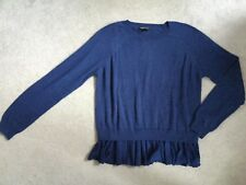 TOPSHOP DARK BLUE JUMPER WITH LONG SLEEVES & RUFFLE AROUND HEMLINE - SIZE 10