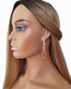 Beautiful Rose gold & gold glitter double layered geometric drop earrings 7.5cm