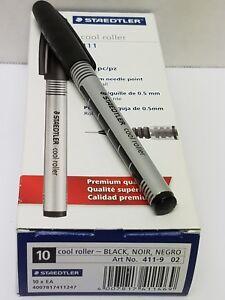 Staedtler Cool Roller, Premium Quality, Black Rollerball Pen, 411-9, 10 ea New!