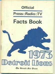 1973 DETROIT LIONS MEDIA GUIDE Press Book Facts NFL 85 Pages