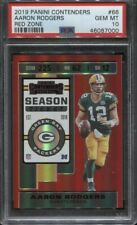 2019 Panini Contenders Aaron Rodgers Red Zone Season Ticket #66 PSA 10 Packers