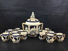 Vintage Marzi Remi German Soup Tureen Lid 13 Cups Castles Navy Stoneware Crock
