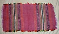 "Stripe Table Runner Placemat Tablecloth 14"" x 26"" Red Green Hand Woven Vintage"