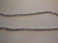 1 meter of Clear Rhinestone Chain Crystal Glass Gem Silver Trim in 3mm for sale
