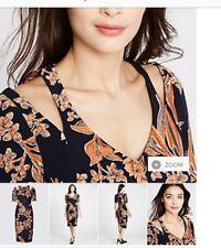 Ladies Cold Shoulder style DRESS NAVY MIX ORANGE PRINT MARKS & SPENCER Size 12