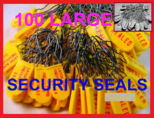 ELECTRIC METER SECURITY SEALS, YELLOW & RED or GRAY LARGE-SHACKLE, 100 SEALS