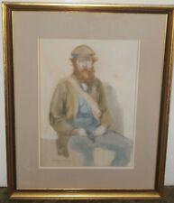 13 x 9 1/2 Young Workman with Beard Watercolor Painting-1975-Burton Silverman