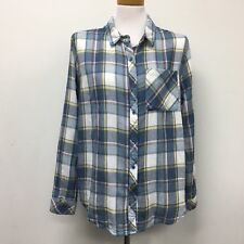 Hippie Laundry Shirt Top XL Womens Blue White Yellow Red Plaid 100% Cotton