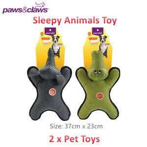 2 x Sleepy Animal Squeaky Pet Chew Toy 37CM Teeth Aid Dog Puppy Durable Doll