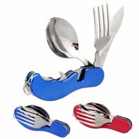 Portable Compact Folding Spoon Knife Fork 3 in1 Utensils Set Travel Camping Kit