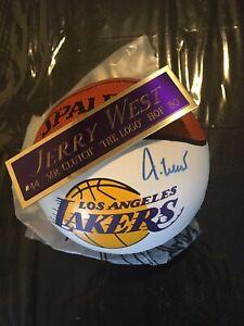jerry west autographed Mini basketball