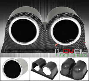 Twin Carbon Dash Mount Pod Air Fuel Turbo Charger Boost Gauge Tint Smoke Lens