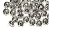 6x10mm Rondelle Disc Spacer Bright Silvertone Metalized Metallic Beads