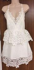 SELF-PORTRAIT Peplum Lace Trimmed Dress Sizes UK 8, 10, 12, 14