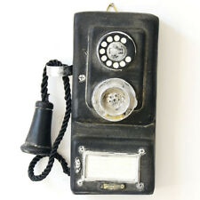 Vintage Rotary Telephone Statue Shabby Old Corded Phone Figurine Wall Mount