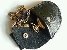 Fob watch Black real leather pouch with belt loop to hang down from belt.