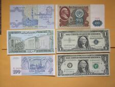 Lot Of 6 World & Us Banknotes Paper money Us $1 Dollar Silver Certificate
