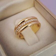 Elegant 18k Yellow Gold Plated Rings Women White Sapphire Wedding Rings Size 6