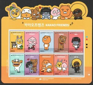 SOUTH KOREA 2019 KAKAO FRIENDS EMOTICONS SOUVENIR SHEET OF 10 STAMPS IN MINT MNH