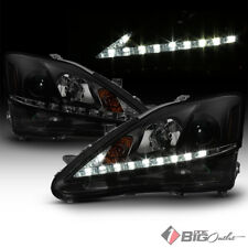 For 06-10 IS250/IS350 Black Smoked Lexus-Signature-DRL-LED Projector Headlights