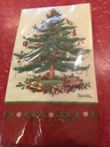 Spode Christmas Tree Guest Dinner Napkins 3 Ply 1 Pack (16 Ct) NEW